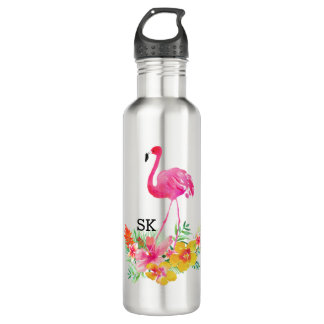 Flamenco rosado lindo y ramo tropical de las botella de agua