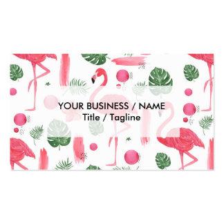Flamenco tropical de la acuarela rosada brillante tarjetas de visita