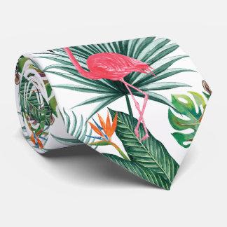 Flamenco tropical del rosa del verano + Acuarela Corbata Personalizada