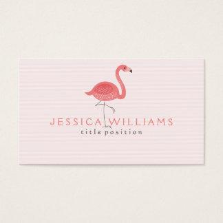 Flamenco y rayas rosados lindos tarjeta de negocios