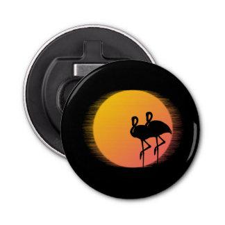 Flamencos de la puesta del sol personalizados abrebotellas
