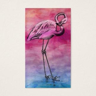 Flamencos del rosa del vintage de la acuarela del tarjeta de negocios