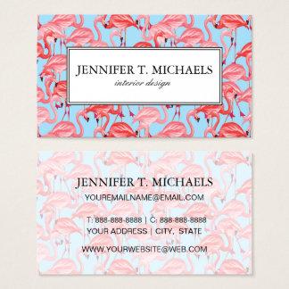 Flamencos rosados brillantes en monograma del azul tarjeta de visita
