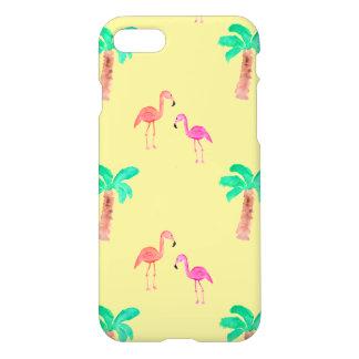 Flamencos rosados con las palmeras tropicales funda para iPhone 7