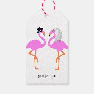 Flamencos rosados lindos novia y boda del novio etiquetas para regalos