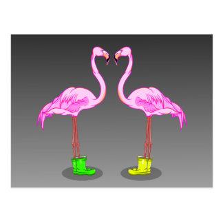 Flamencos rosados que llevan Gumboots Postal