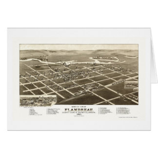 Flandreau, mapa panorámico del SD - 1883 Tarjeta De Felicitación