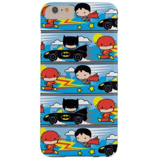 Flash, superhombre, y Batman de Chibi que compite Funda Barely There iPhone 6 Plus