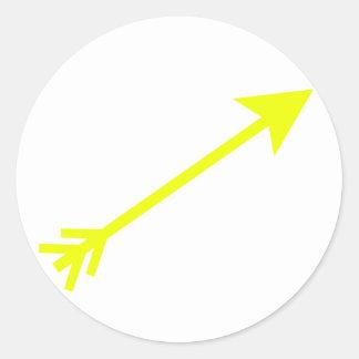 Flecha 35deg amarillo los regalos de Zazzle del Pegatina Redonda