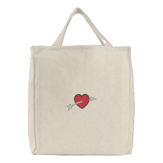 Flecha a través del tote del corazón bolsas bordadas