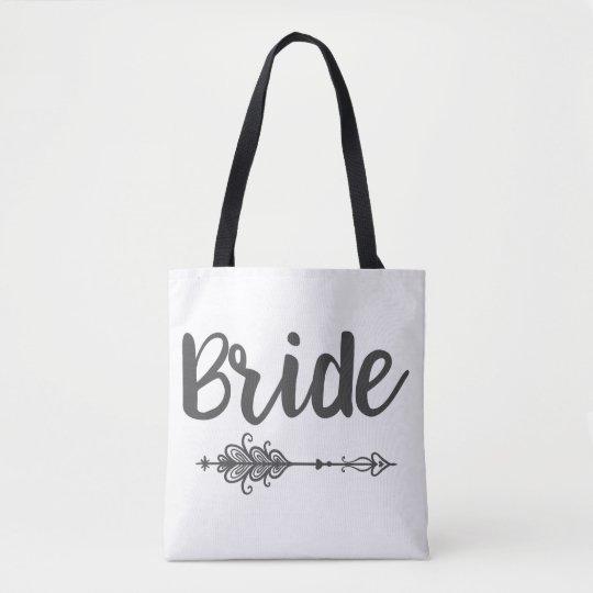 Flecha de la novia y la bolsa de asas del nombre