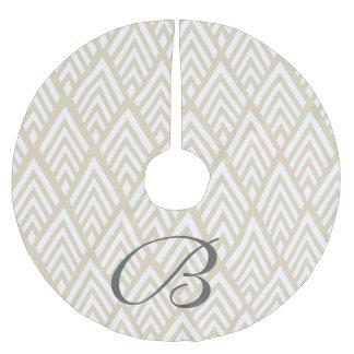 Flechas blancas con clase de Deco y inicial beige Falda Para El Árbol De Navidad De Poliéster