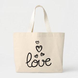 Flechas de amor y corazones negros - boda bolso de tela grande