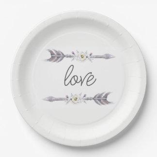 Flechas de la placa del amor plato de papel