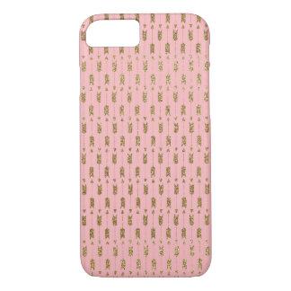 Flechas del Cupid del brillo del oro en rosa Funda iPhone 7