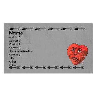 Flechas góticas tristes de la cara del corazón tarjetas de visita