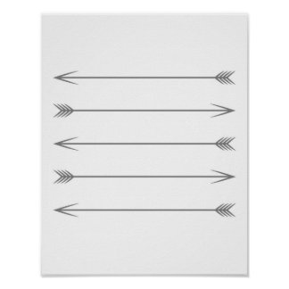 Flechas gris oscuro mínimas póster