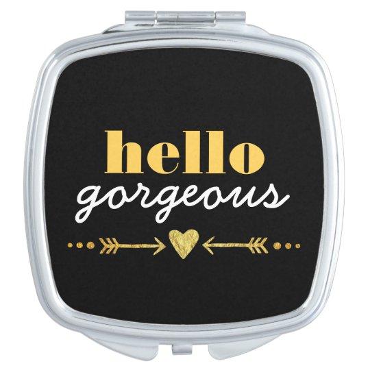 Flechas y corazón de oro - adulando a cada cara espejo compacto