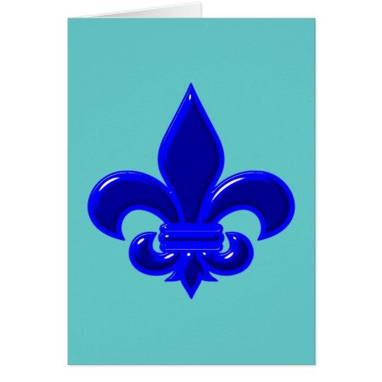 Fleur De Lis azul blue Tarjeta De Felicitación