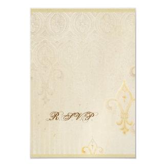 Fleur di Lys Damask 2 - casar la tarjeta de la Invitación 8,9 X 12,7 Cm