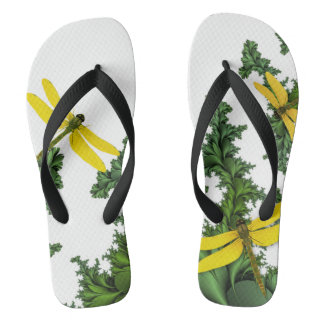 Flips-flopes amarillos de las libélulas chanclas