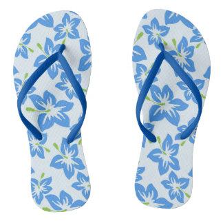 Flips-flopes azules del hibisco chanclas