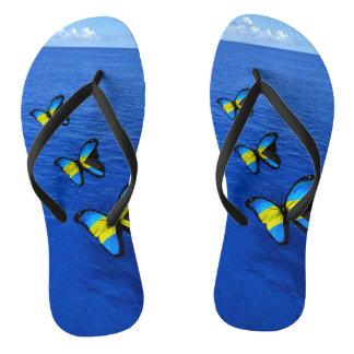 Flips-flopes bahameses de la mariposa chanclas
