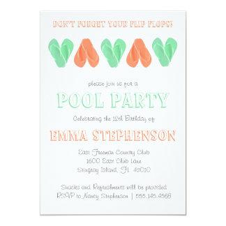 Flips-flopes brillantes de la invitación el | de invitación 12,7 x 17,8 cm