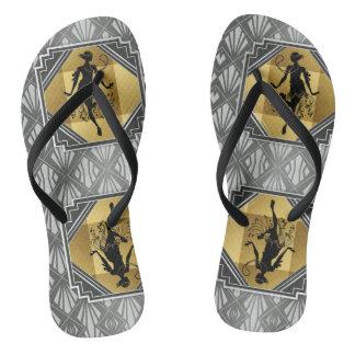 Flips-flopes de Gatsby del art déco de la aleta Chanclas