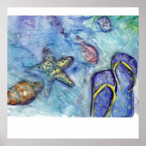 Flips-flopes de Sanibel - sandalias - estrellas de Poster
