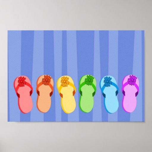 Flips-flopes del arco iris posters