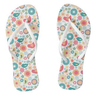 Flips-flopes florales del pájaro de moda, diseño chanclas