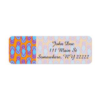 Flips-flopes hawaianos en azul y naranja etiqueta de remite