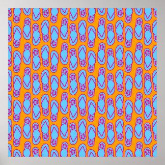 Flips-flopes hawaianos en azul y naranja póster