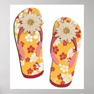 Flips-flopes moldeados del hibisco póster