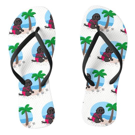 Flips-flopes negros de las vacaciones de verano chanclas