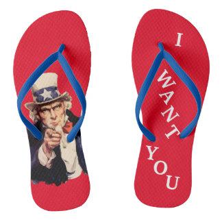 Flips-flopes patrióticos del tío Sam de los Chanclas