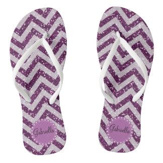 Flips-flopes personalizados Chevron púrpuras del Chanclas