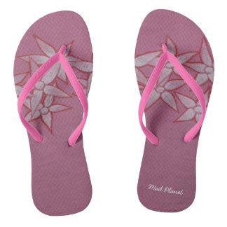 Flips-flopes pintados del rosa de la flor chanclas