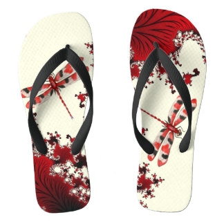 Flips-flopes rojos de la libélula chanclas