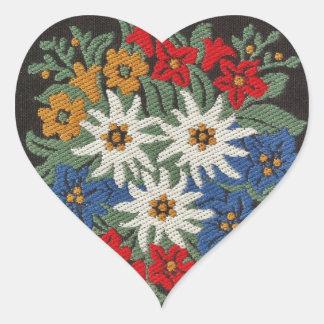 Flor alpina suiza de Edelweiss Pegatina En Forma De Corazón