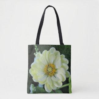 Flor amarilla clara de la dalia bolso de tela