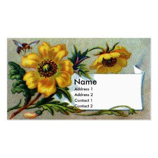 Flor amarilla con el Victorian de la abeja del Plantillas De Tarjeta De Negocio