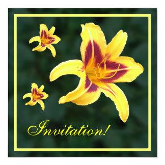 Flor amarilla con rojo, Hemerocallis del Daylily: Invitación 13,3 Cm X 13,3cm