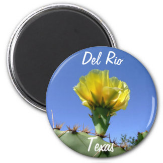 Flor amarilla del cactus de los recuerdos de Del R Imán Redondo 5 Cm
