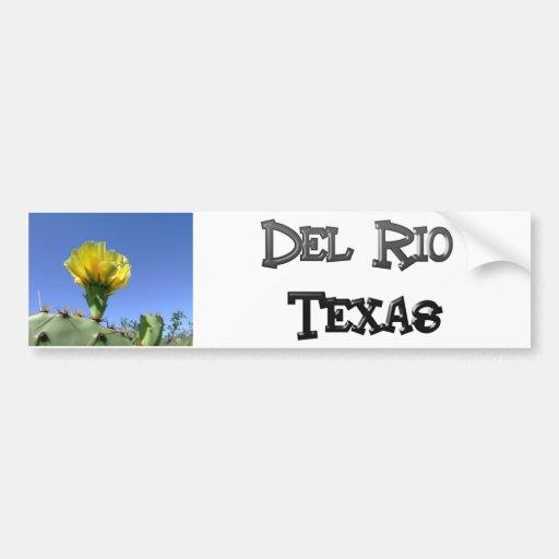 Flor amarilla del cactus de los recuerdos de Del R Etiqueta De Parachoque