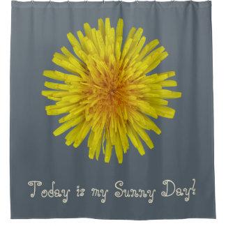 Flor amarilla del diente de león cualquier texto cortina de baño