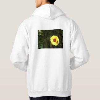 Flor amarilla hermosa con la pequeña abeja sudadera