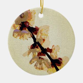 Flor amarillo de la flor adorno navideño redondo de cerámica