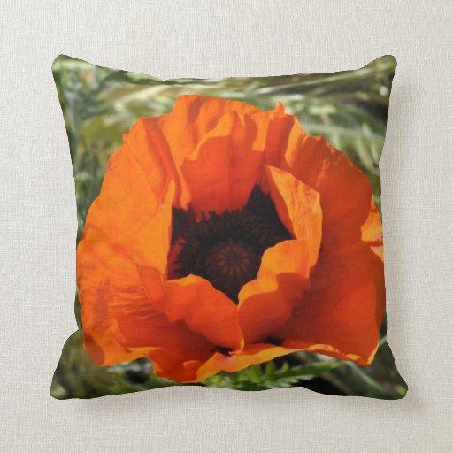 flor anaranjada roja del verano de la decoración d cojines
